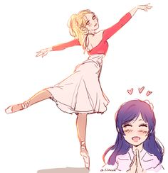 Eli doing ballet, with Nozomi cheering her on!! So sweet!