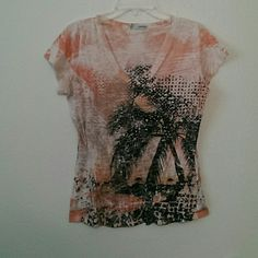 V neck Has cute bling and tropical sunset all jewels in place Maurices Tops Tees - Short Sleeve