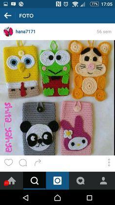 Crochet Jar Covers, Crochet Phone Cover, Crochet Dolls, Crochet Baby, Crochet Wallet, Granny Square Blanket, Tablet Cover, Coffee Cozy, Animal Faces