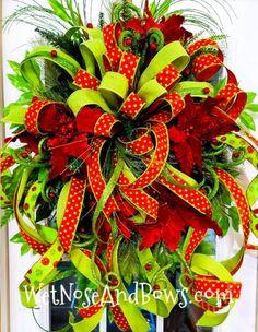 Christmas Wreaths Portfolio - Professional Wreath Designs Christmas Swags, Christmas Ribbon, Holiday Wreaths, Christmas Diy, Christmas Decorations, Winter Wreaths, Outdoor Decorations, Holiday Decorating, Pool Noodle Christmas Wreath