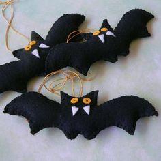 Stuffed Bats Plush Felt Halloween Ornaments, Set of 3, Handmade