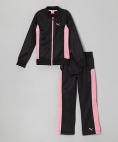 Take a look at this Black Zip-Up Jacket & Track Pants - Infant, Toddler & Girls by PUMA on #zulily today!