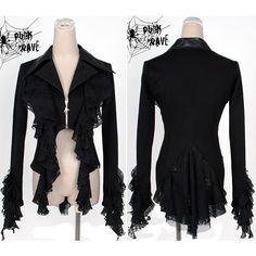 Trendy Women Black Burlesque Goth Emo Clothing Ruffle Dress Jackets  SKU-11401075