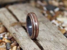 Grey Maple & Walnut Wood Ring with Copper and Silver Mens