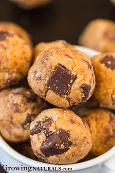 Growing Naturals - Protein Bites Recipes - Chocolate Chunk Cookie Dough Protein Bites http://growingnaturals.com/portfolio-items/chocolate-chunk-cookie-dough-bites/