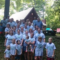 """All day long at the cabin, the treasured sound of the screen door slamming rang harmoniously in the McElroys' ears. The cabin was built by family in 1971 and holds a plethora of memories. It was the perfect location to host their family reunion.   Michelle McElroy said the personalized Athletic Family Reunion shirts from InkPixi were, """"a huge hit""""! Thank you to the McElroys for letting us be a part of your special day! http://www.inkpixi.com/items/athletic-family-reunion/sports-grey/design"""