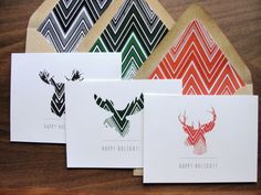 Set of 12 / Chevron Holiday Greeting Cards / Winter  by punchpaper