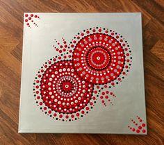Obraz+Mandala+50x50cm+červeno-stříbrná+Ručně+malovaný+obraz+akrylem+na+plátno+metodou+tečkování