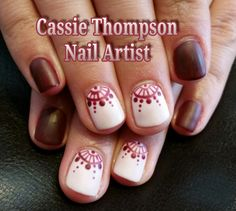 Burgundy lace lunula matte by Cassie Thompson nail artist of Vancouver WA Follow me on Instagram @ctnailartist
