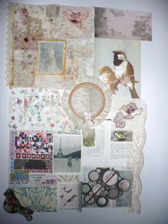 textiles mood board. featuring my grandparents, samples, family lace and a gift from when i was born.
