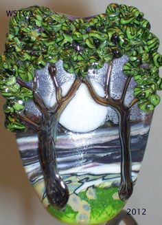 Sisters of the Moon lampwork glass tree bead
