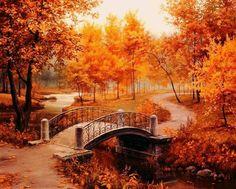 Autumn fall bridge bridges landscape