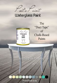 """Table finished with Poet's Paint Waterglass Paint in """"Stonehenge"""". Poet's Paint is currently available on Amazon with several colors matching Annie S. colors for less $ - Prime members ship free. Poet's Paint has an added element of liquid glass for an extremely durable matte chalk finish."""