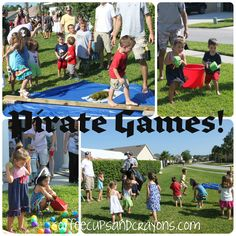 "Fun party games that would be good for 3 year olds and involve Captain hook (that sneak snook) from Jake and the Neverland Pirates TV show making ""obstacles"" for the kids to get through to get to their treasure. J would love the ""Oh Coconuts"" game since he says that all the time!"