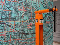 Silicon Valley wall graphic, Orchard Glen, Santa Clara, CA Cycle Store, Bike Room, Grant Park, Bike Parking, Bike Storage, Graffiti Wall, Apartment Design, Design Elements, Living Spaces