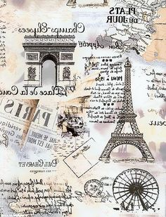 Great Paris collage image, reversed and ready for use with Artisan Enhancements Transfer Gel! Decoupage Vintage, Decoupage Paper, Vintage Diy, Vintage Labels, Images Vintage, Vintage Pictures, Etiquette Vintage, Paris Wallpaper, Foto Transfer