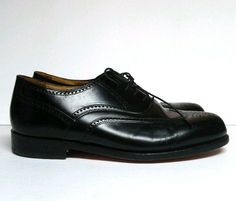 aa475777daf88 Stafford Executive Wear Leather Oxford Wingtip Black Shoes Men s 9 EEE E   Stafford