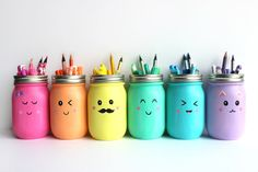 Your finished mason jars are great for holding art supplies.
