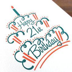 Glücklich Birthday Cake – Letterpress-Karten – Birthday Presents Happy Birthday Drawings, Happy Birthday Posters, Birthday Card Drawing, Happy Birthday For Him, Birthday Cake Card, Happy Birthday Signs, Happy Birthday Images, Diy Birthday Poster, 21 Birthday Wishes