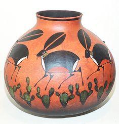 Mimbres Rabbit Gourd Pot by Robert Rivera