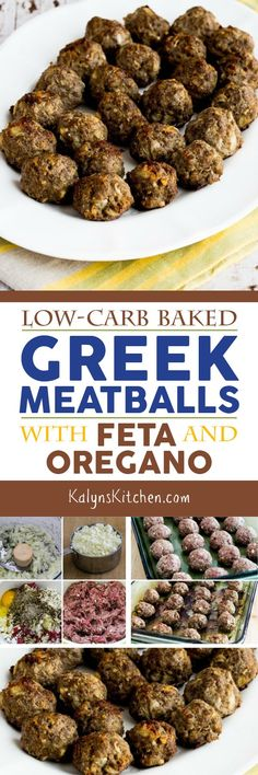 Low-Carb Baked Greek Meatballs with Feta and Oregano found on KalynsKitchen.com