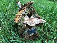 Tiny fairy house made from bark, moss, pine cones and sea glass House Made, Pine Cones, Fairy, Sea, Etsy, The Ocean, Ocean, Pine Cone, Angel