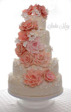 Rose Cascade Wedding Cake by Sadie May Cakes, via Flickr