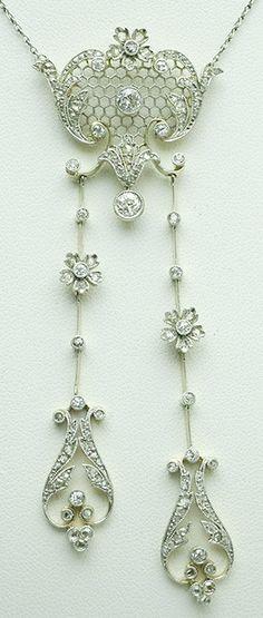 A Belle Epoque diamond négligée necklace, French, 1900s. Old European- and rose-cut diamonds, platinum and 18K gold. #BelleÉpoque #necklace