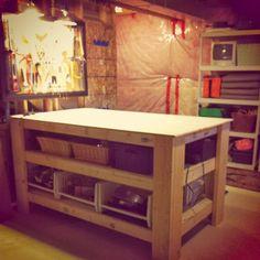 Just beachy, DIY work bench , island , work shop storage organization $130