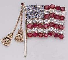 American flag brooch, made in the United States, c.1940
