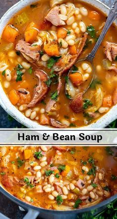 HAM and BEAN SOUP RECIPE! + WonkyWonderful How do you use that leftover ham from your holiday feast? Make this Ham and Bean Soup Recipe to use your ham leftovers in an entirely new dinner. This easy, healthy meal is perfect for a cold Winter day. Easy Healthy Recipes, Easy Meals, Yummy Recipes, Healthy Soups, Dairy Free Recipes, Healthy Chicken, Easy Cooking, Cooking Recipes, Crockpot Recipes