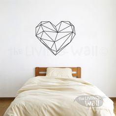 Decalcomanie da muro di cuore geometrico, arte della parete cuore geometrico, cuore Home Decor Stickers, cuore vinile adesivo