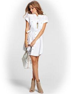 b2426c645dbb GUESS Women s Three-Quarter Sleeve Gauze Shirtdress