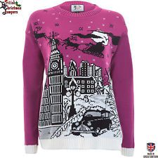 Christmas in London - Edition II Cerise Knitted Womens Xmas Jumper Sweater