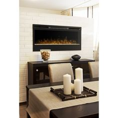 Dimplex Synergy Wall Mounted Electric Fireplace Wall Mounted Fireplace, Dining Room Fireplace, Wall Mount Electric Fireplace, Modern Fireplace, Dining Room Walls, Fireplace Design, Dining Room Design, Fireplace Ideas, Electric Fireplaces