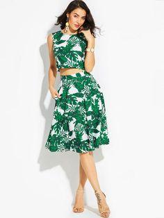 981d1f50383 Jupe patineuse verte et blanche taille haute motifs feuilles