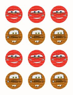 Disney Cars Lightning McQueen & Tow Mater Face Inspired Edible Icing Cupcake Decor Toppers - DC5C