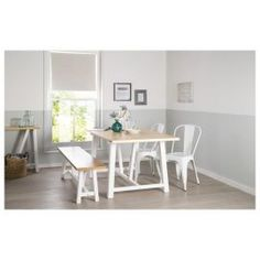 Buy Portobello Trestle Dining Table White & Bleached Pine from our Dining Tables range - Tesco