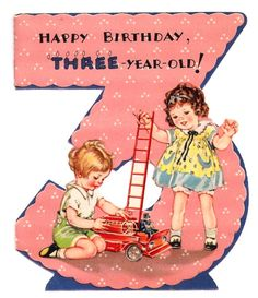 Cute Childrens Vintage Birthday Card