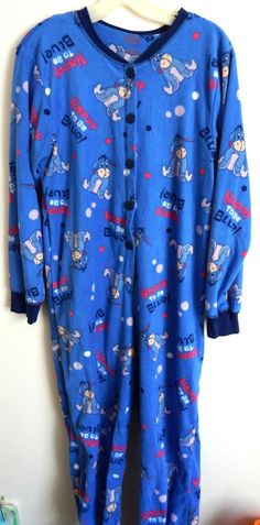 Disney Eeyore Blue Fleece 1 Piece Footed Pajamas Sleeper Adult Sz  M (7/9) Pooh…
