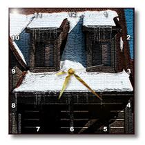 3dRose - Jos Fauxtographee Realistic - A Home with Ice Cycles Hanging From the Eaves Textured - Wall Clocks