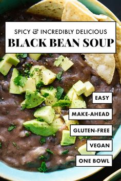 Spicy Black Bean Soup Meet the BEST black bean soup recipe, perfect for busy weeknights. It's ready in 45 minutes! This soup is made with canned black beans, yet it's incredibly flavorful and delicious. It's naturally vegan, vegetarian and gluten free! Quick Vegetarian Meals, Vegan Vegetarian, Vegetarian Black Bean Soup, Vegetarian Italian, Vegan Soups, Vegan Dinners, Vegan Food, Spicy Black Bean Soup Recipe, Easy Black Bean Soup