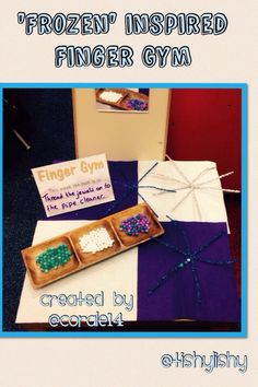 Created by my student. Finger Gym activity - threading beads onto snowflake shaped pipe cleaners.