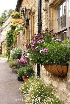 LOVE these window boxes and potted plants in Castle Combe, England!