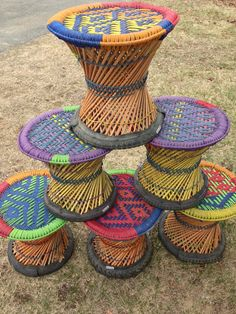All new! Just arrived from Nepal! Hand-Woven Cane Stools- Makes a great foot stool or sitting stool...Hand-woven in Nepal...Using cane, recycled bicycle tires, and rope...Comes in assorted colors. Gre