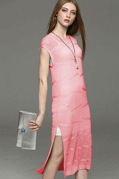 Geometric Side split Loose maxi dress -KnitFans