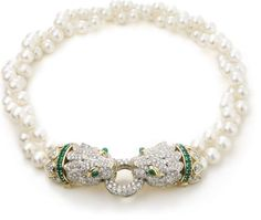 David Webb New York - South Sea cultured pearls, cabochon and circular-cut emeralds, brilliant-cut diamonds, 18K gold, and platinum