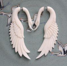 faux guage swan earrings - sanskritdream [etsy]