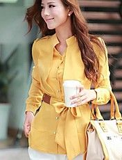 Women's V-neck Candy Color Puff Sleeve Shirt(... – USD $ 25.89
