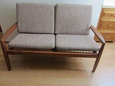 Danish Mid Century Modern Teak Woven Cane Loveseat Hans Olsen Style Design